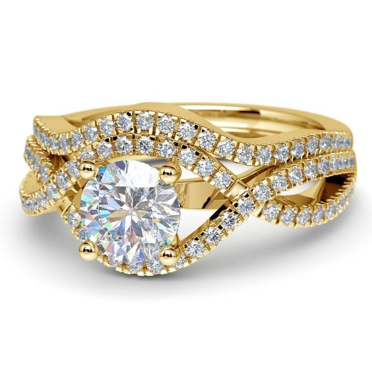 Cross Split Shank Bridal Set in Yellow Gold   04
