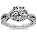 Cross Split Shank Diamond Engagement Ring in Platinum | Thumbnail 01