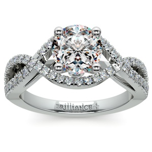 Cross Split Shank Diamond Engagement Ring in Platinum