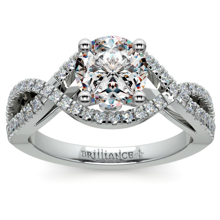 Cross Split Shank Diamond Engagement Ring in Platinum | 01