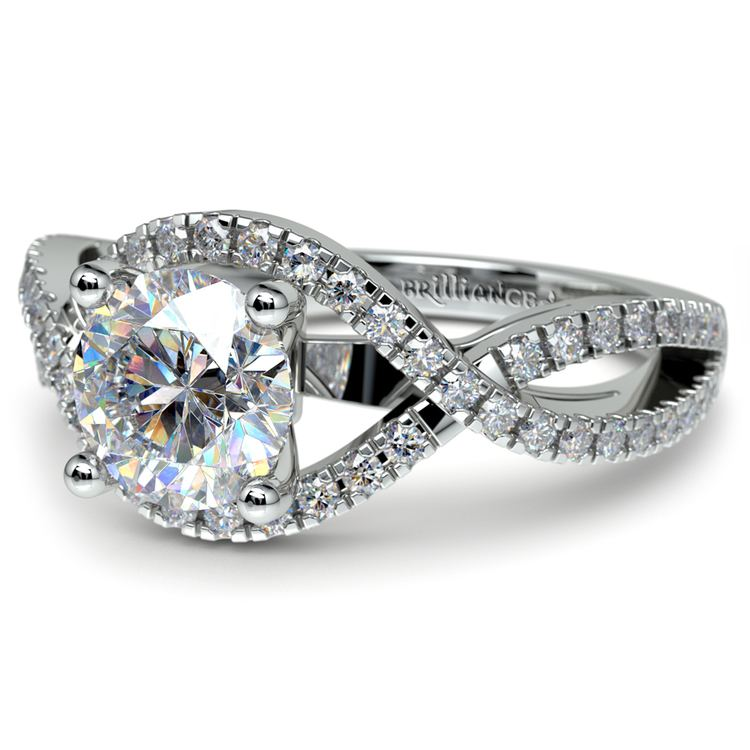 Cross Split Shank Diamond Engagement Ring in Platinum | 04