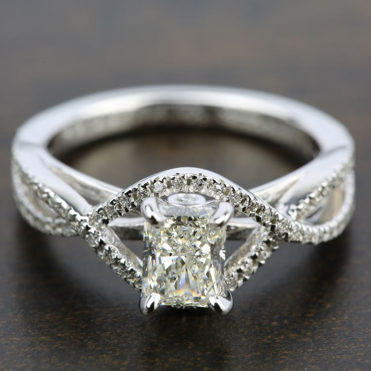 Cross Split Shank Diamond Engagement Ring in Platinum | 05