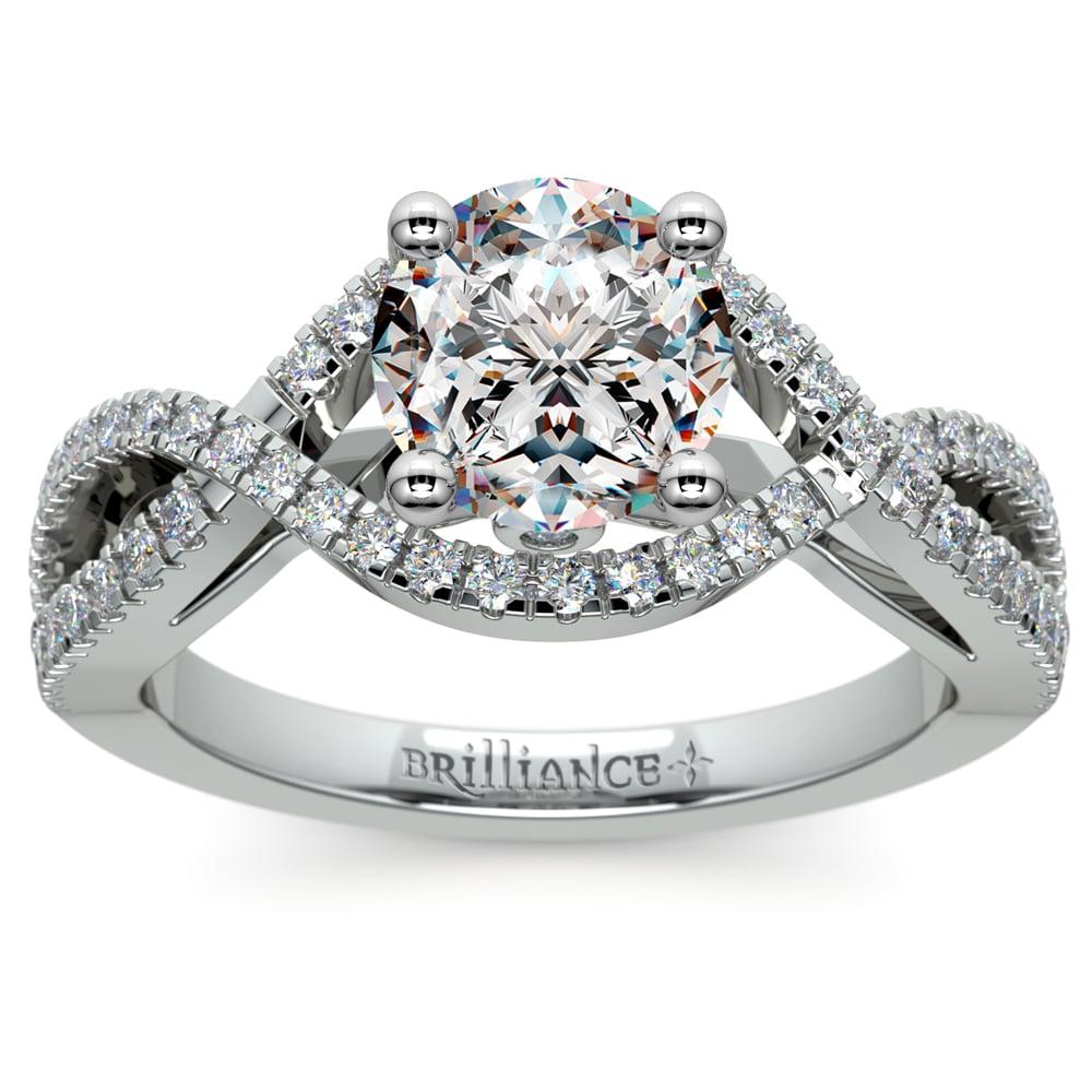Cross Split Shank Diamond Engagement Ring In Platinum
