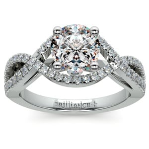 Cross Split Shank Diamond Engagement Ring in White Gold