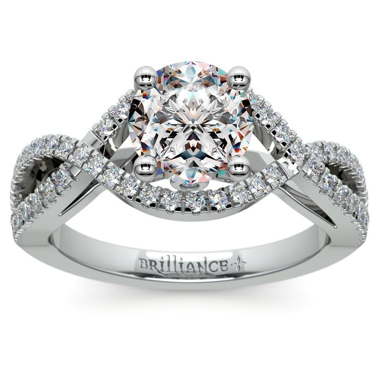 Cross Split Shank Diamond Engagement Ring in White Gold | 01