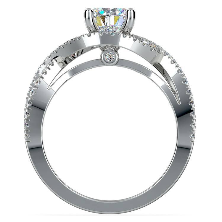 Cross Split Shank Diamond Engagement Ring in White Gold | 02
