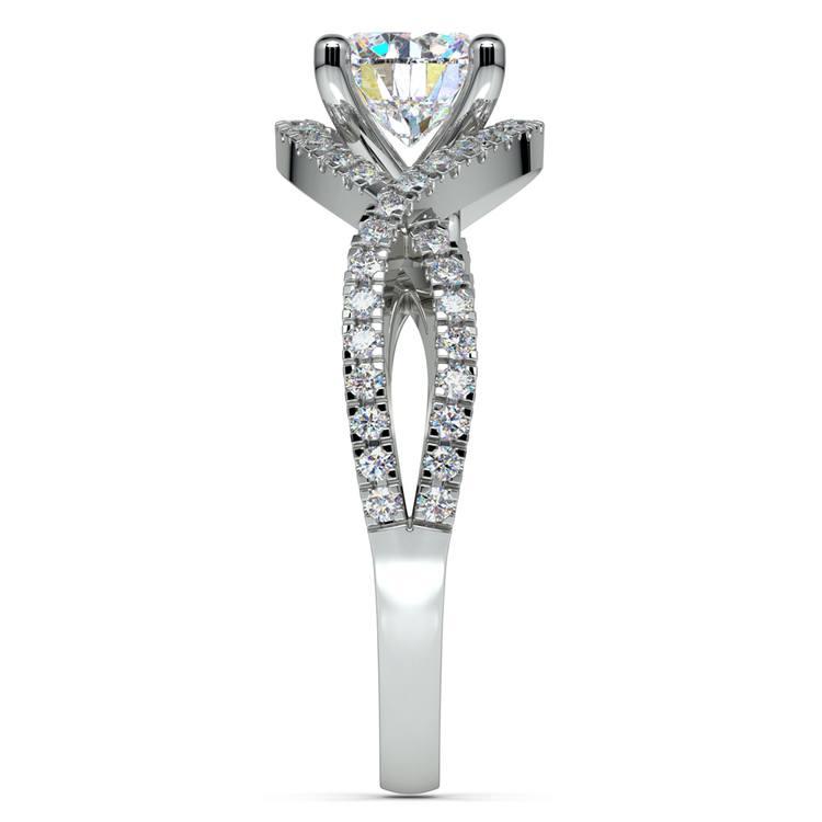 Cross Split Shank Diamond Engagement Ring in White Gold | 03