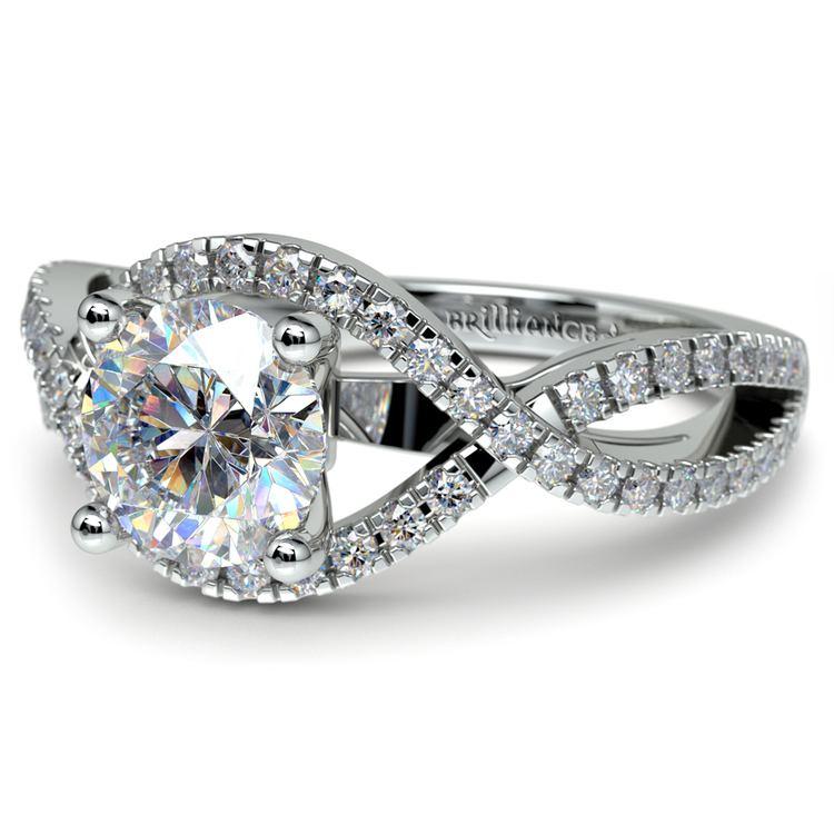 Cross Split Shank Diamond Engagement Ring in White Gold | 04