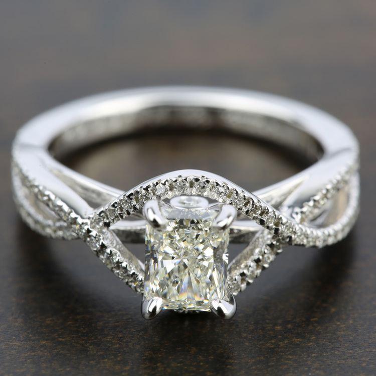 Cross Split Shank Diamond Engagement Ring in White Gold | 05