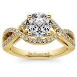 Cross Split Shank Diamond Engagement Ring in Yellow Gold | Thumbnail 01