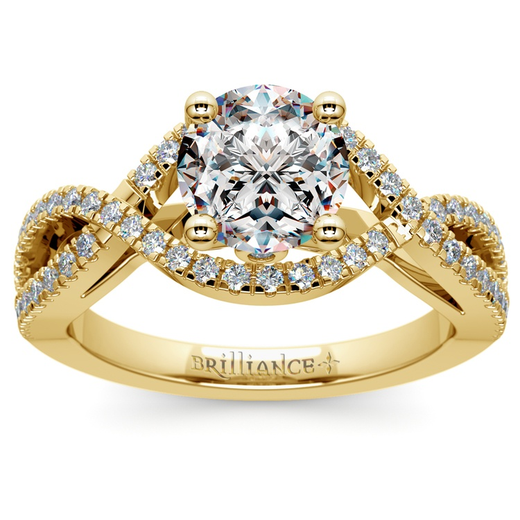Cross Split Shank Diamond Engagement Ring in Yellow Gold | 01