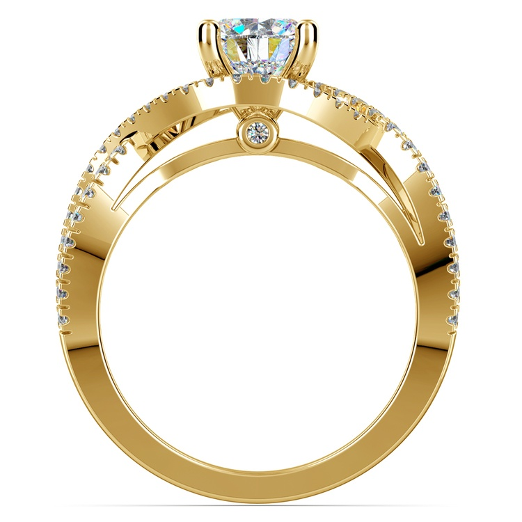 Cross Split Shank Diamond Engagement Ring in Yellow Gold | 02