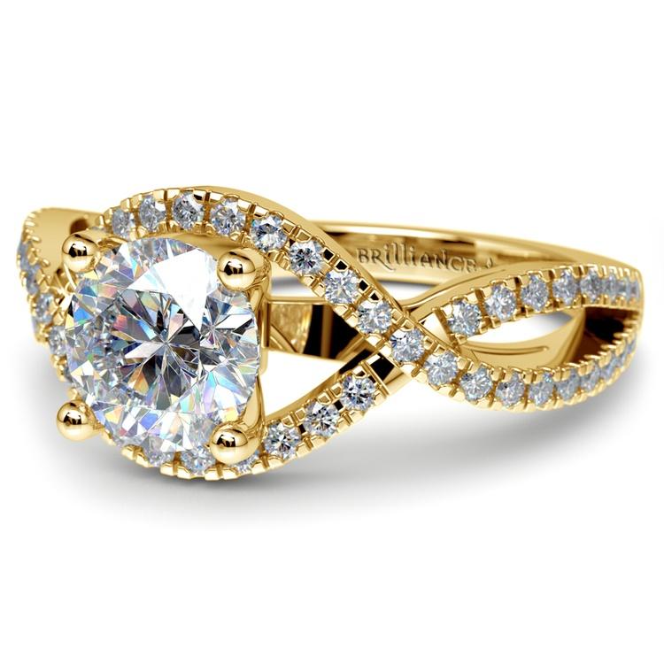 Cross Split Shank Diamond Engagement Ring in Yellow Gold | 04