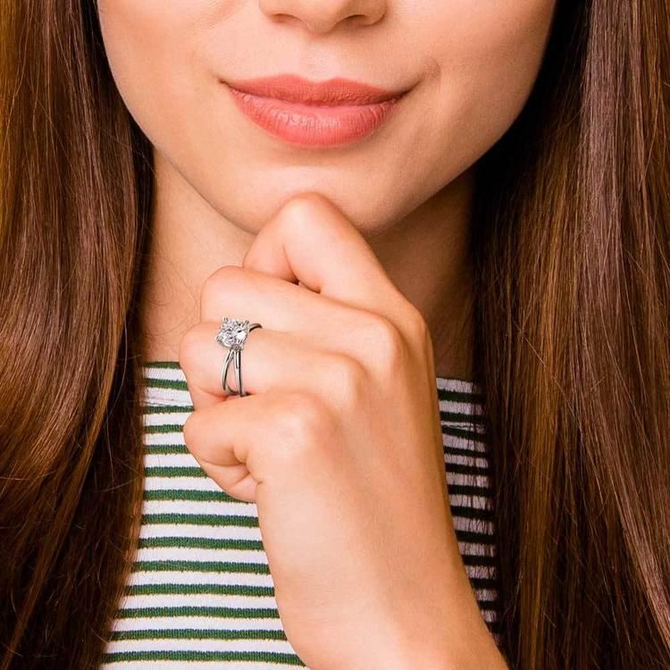 Cross Split Shank Solitaire Engagement Ring in Platinum   07