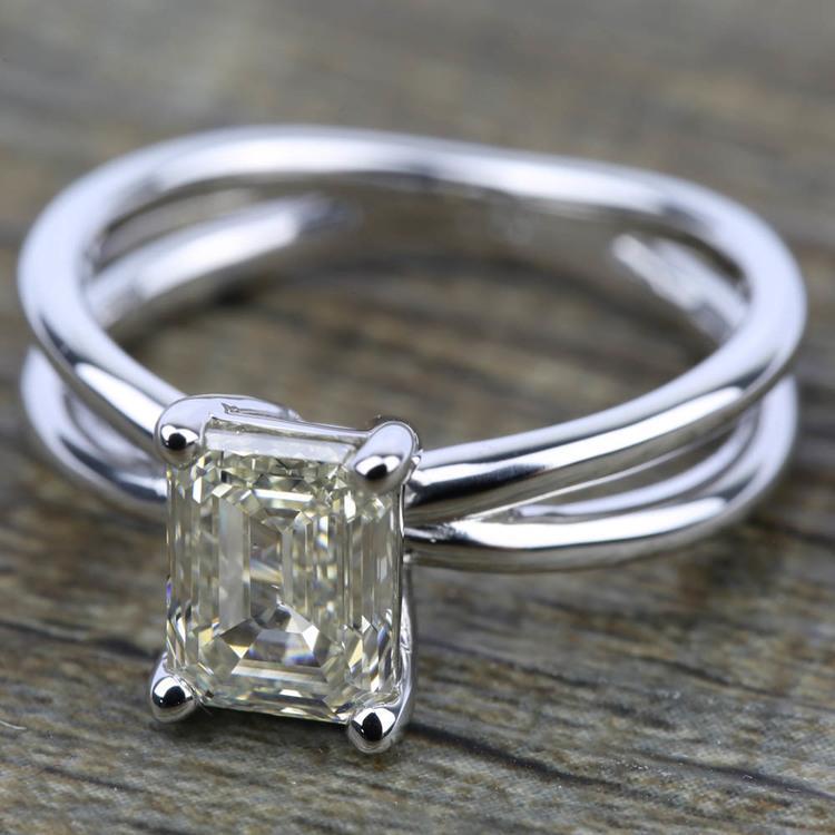 Cross Split Shank Solitaire Engagement Ring in Platinum   05
