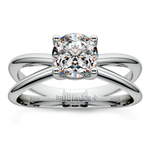 Cross Split Shank Solitaire Engagement Ring in Palladium | Thumbnail 01