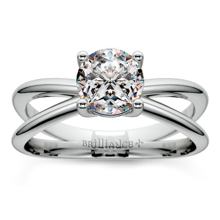 Cross Split Shank Solitaire Engagement Ring in White Gold | 01