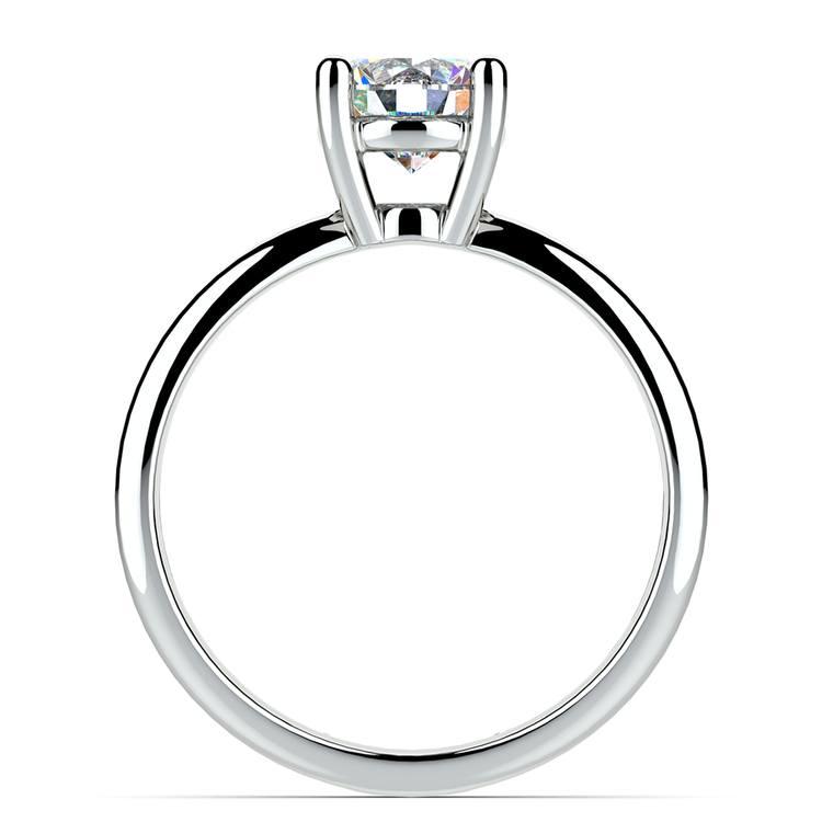 Cross Split Shank Solitaire Engagement Ring in White Gold | 02