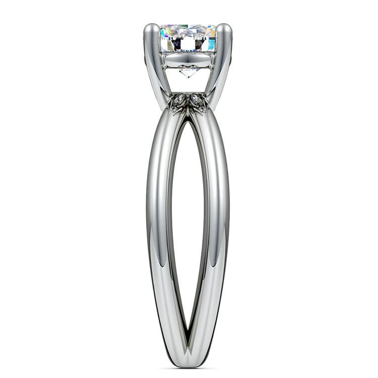 Cross Split Shank Solitaire Engagement Ring in White Gold | 03