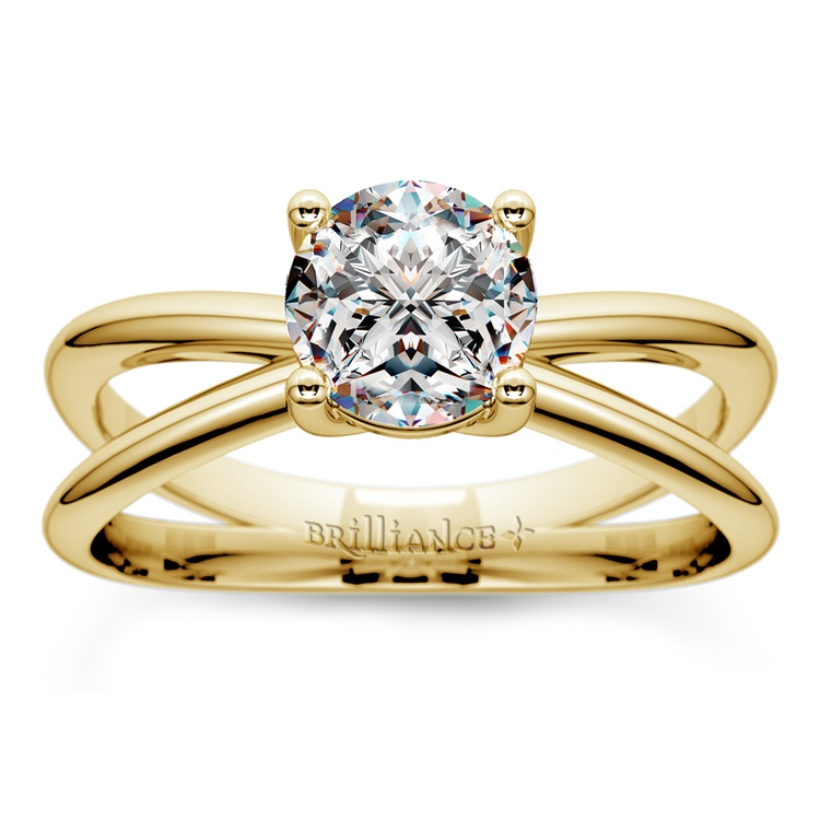 Cross Split Shank Solitaire Engagement Ring in Yellow Gold | 01