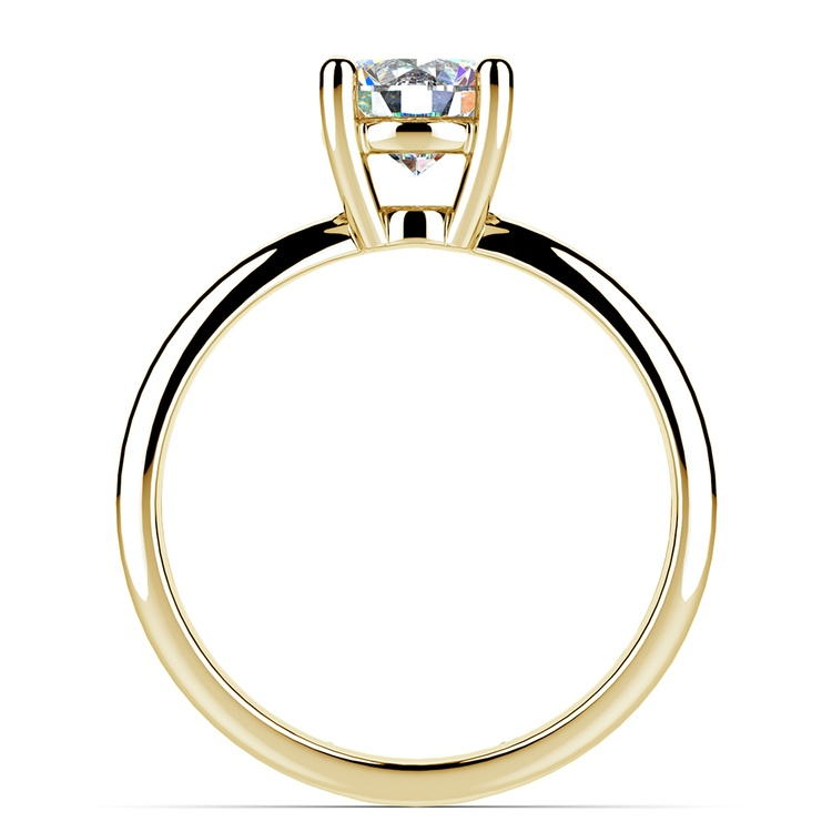 Cross Split Shank Solitaire Engagement Ring in Yellow Gold | 02
