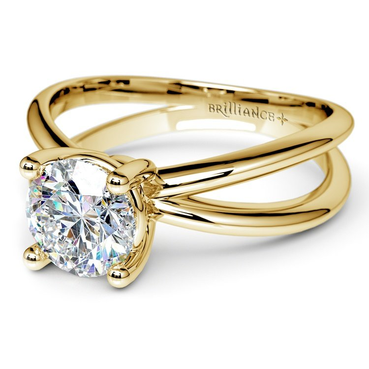 Cross Split Shank Solitaire Engagement Ring in Yellow Gold | 04