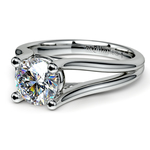 Curved Split Shank Solitaire Engagement Ring in Palladium | Thumbnail 04