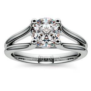 Curved Split Shank Solitaire Engagement Ring in Palladium