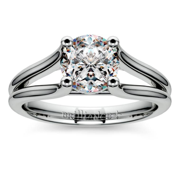 Curved Split Shank Solitaire Engagement Ring in White Gold | 01