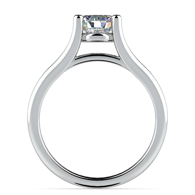 Curved Split Shank Solitaire Engagement Ring in White Gold | 02