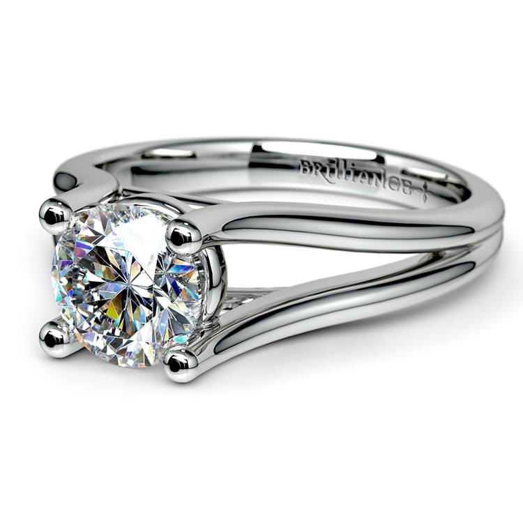 Curved Split Shank Solitaire Engagement Ring in White Gold | 04