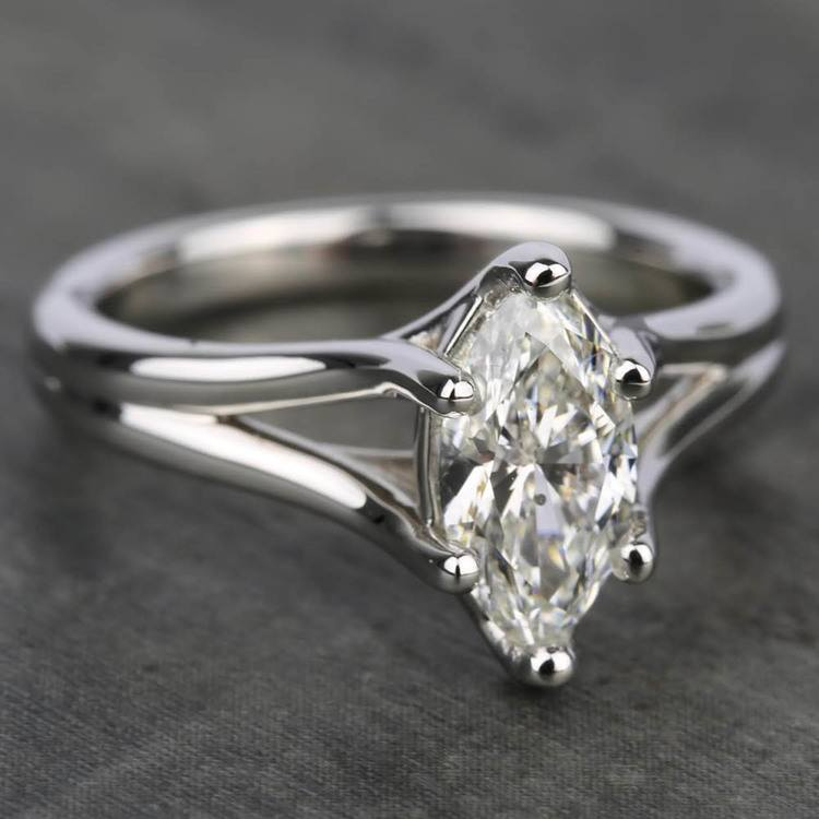 Curved Split Shank Solitaire Engagement Ring in White Gold | 05