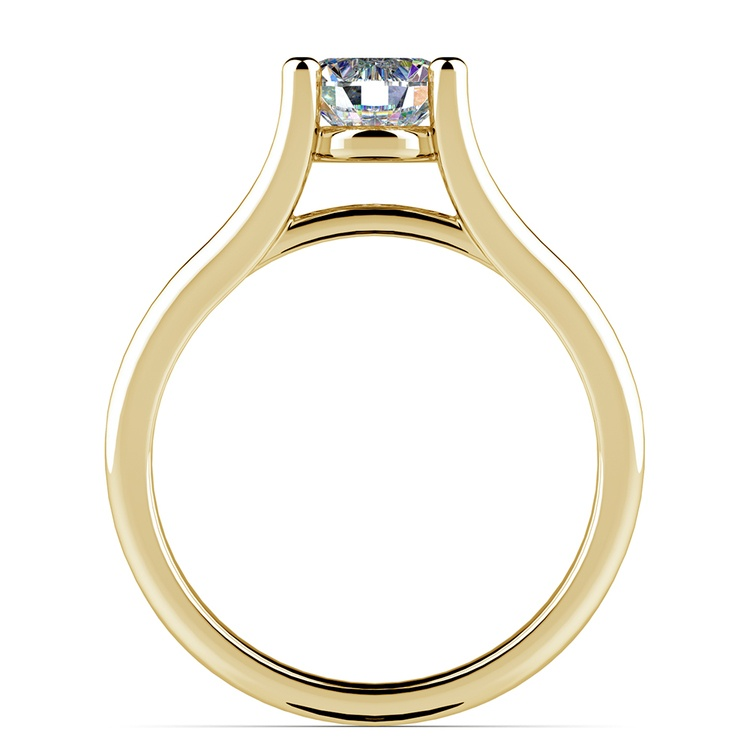 Curved Split Shank Solitaire Engagement Ring in Yellow Gold | 02