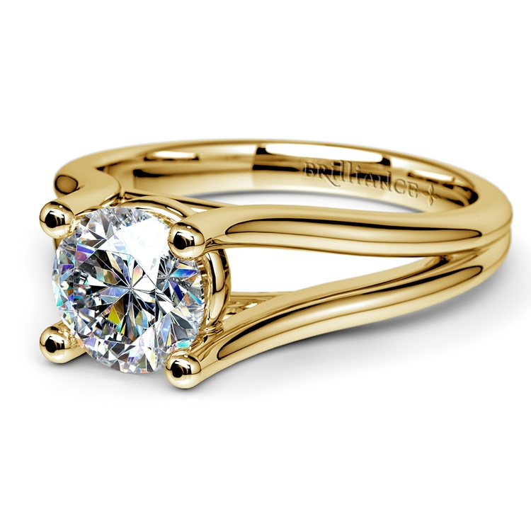 Curved Split Shank Solitaire Engagement Ring in Yellow Gold | 04