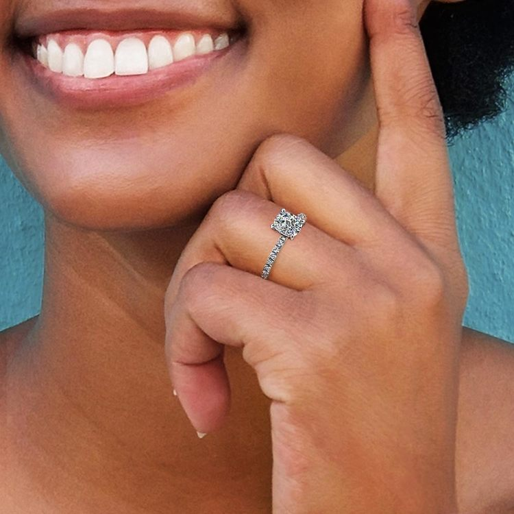 Cushion Cut Petite Pave Engagement Ring (1.25 ctw)   06