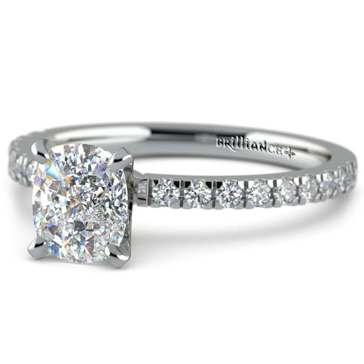 1 Carat Cushion Cut Micro Pave Engagement Ring | 01