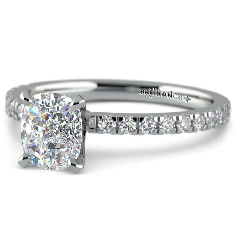 Cushion Cut Petite Pave Engagement Ring (0.75 carat)   01
