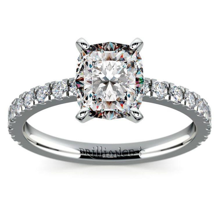 Cushion Cut Petite Pave Engagement Ring (0.75 carat)   02