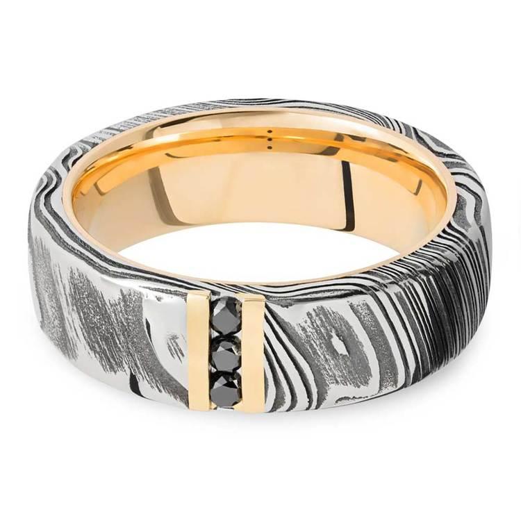 Damascus Steel Men's Engagement Ring With Black Diamonds | 01