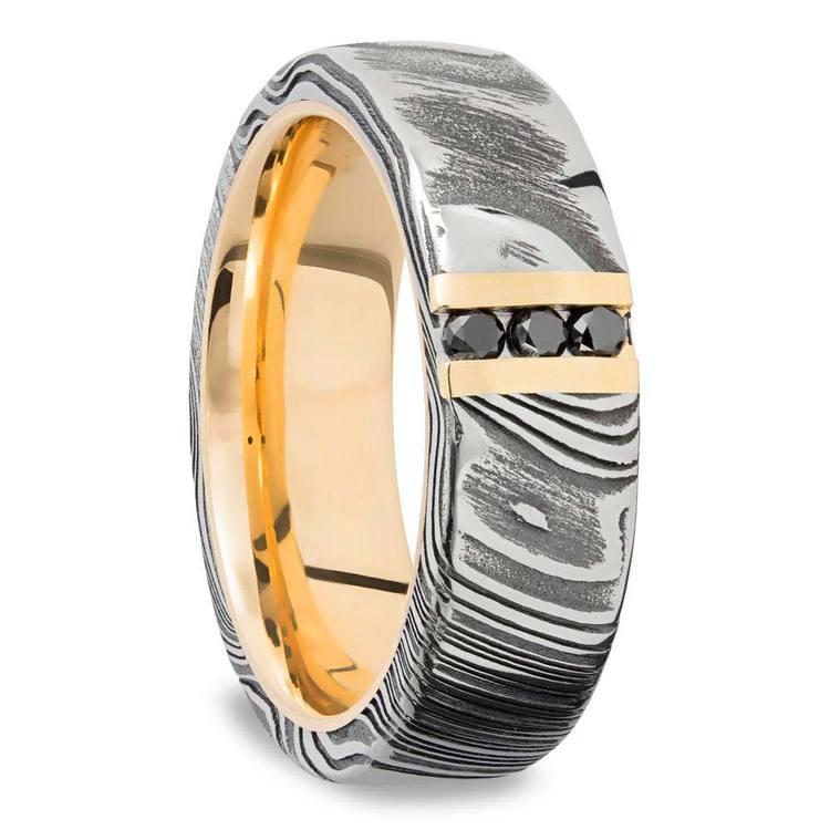 Damascus Steel Men's Engagement Ring With Black Diamonds | 02