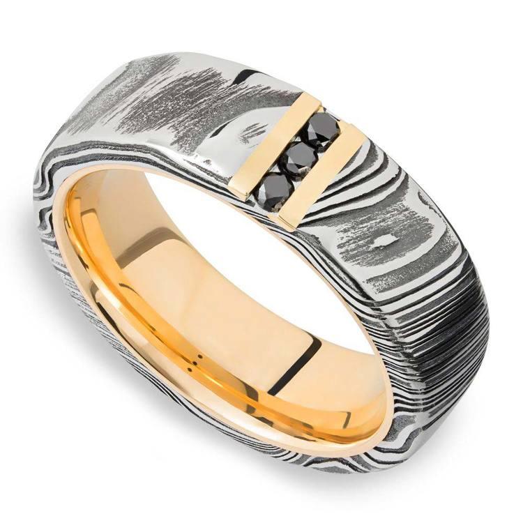 Damascus Steel Men's Engagement Ring With Black Diamonds | 03