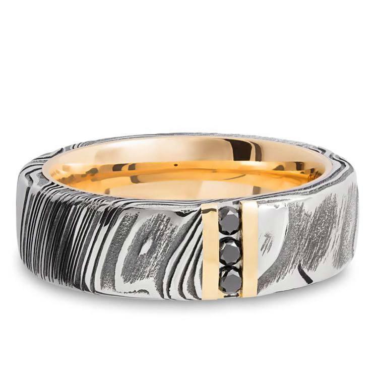 Damascus Steel Men's Engagement Ring With Black Diamonds | 04