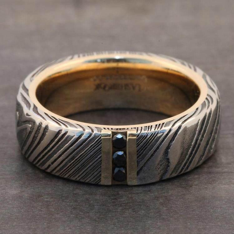Damascus Steel Men's Engagement Ring With Black Diamonds | 05