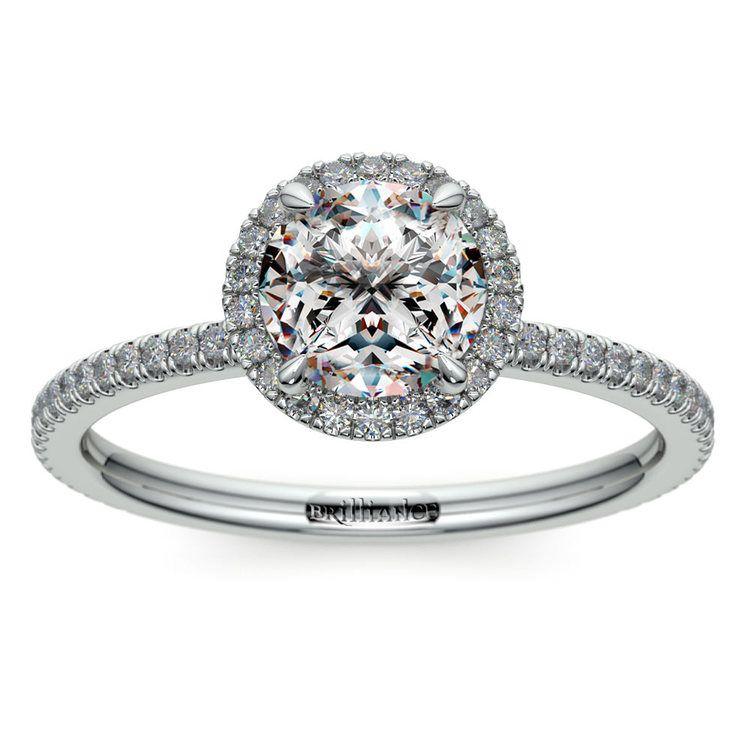 Delicate Halo Engagement Ring In Platinum   01