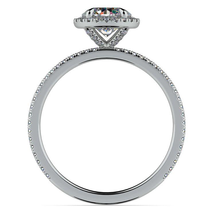 Delicate Halo Engagement Ring In Platinum   02