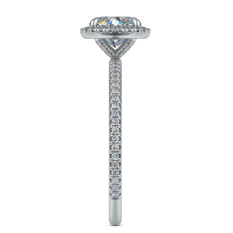 Delicate Halo Engagement Ring In Platinum   03