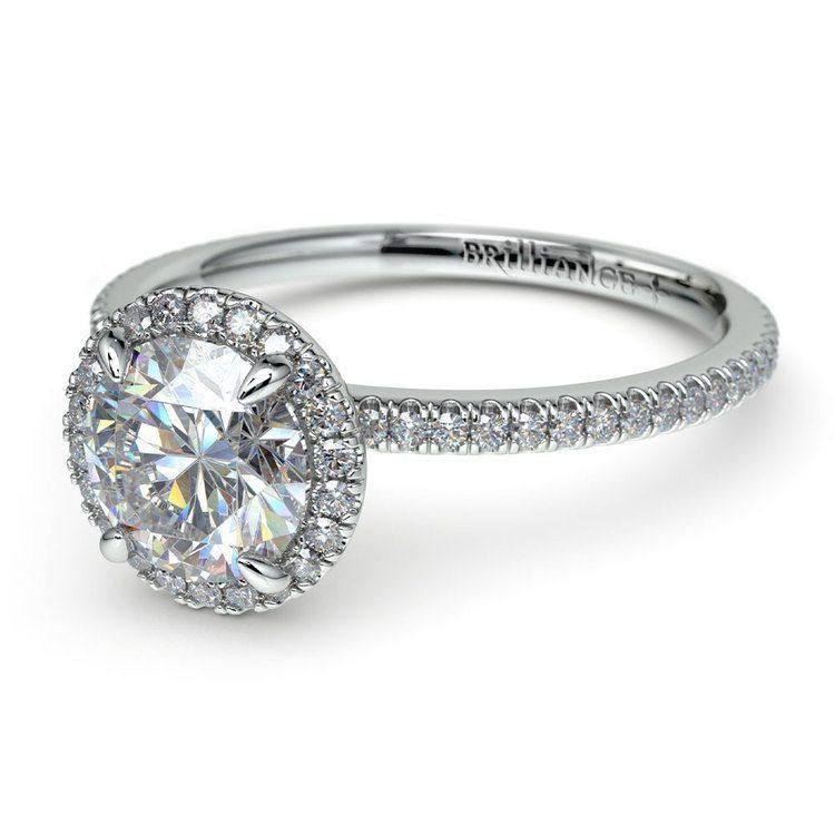 Delicate Halo Engagement Ring In Platinum   04