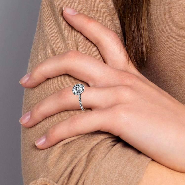 Delicate Halo Engagement Ring In Platinum   06