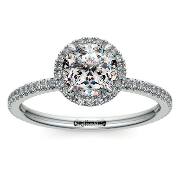 Delicate Halo Engagement Ring in White Gold | 01
