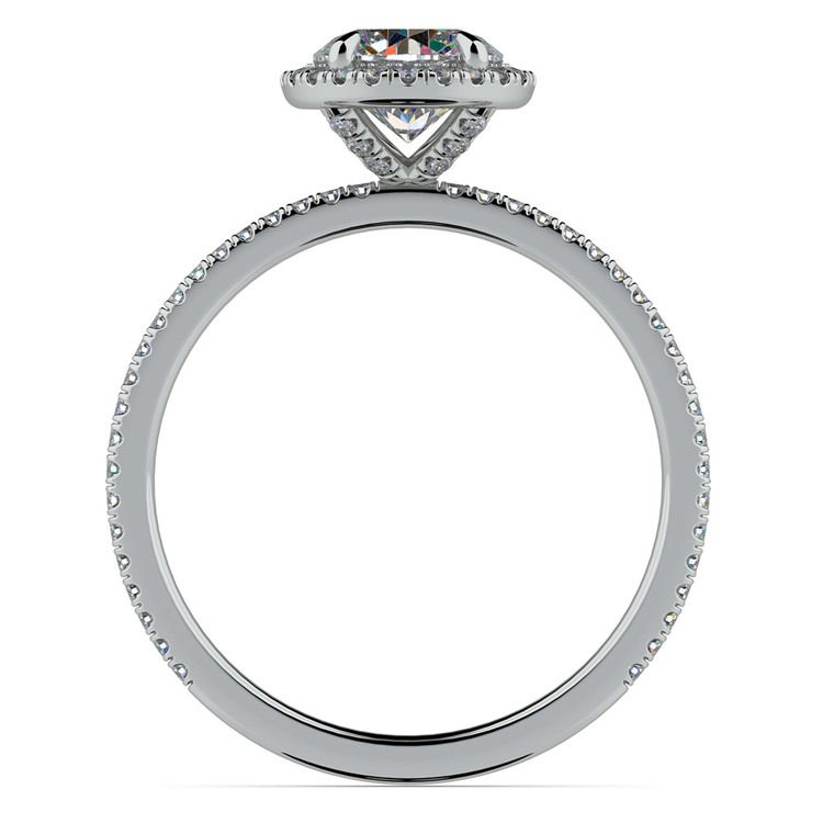 Delicate Halo Engagement Ring in White Gold | 02